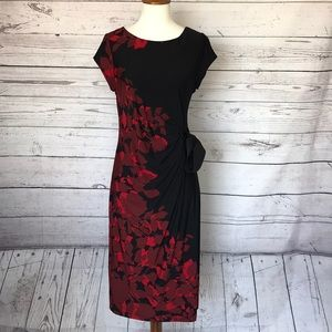 A Pea in a Pod Black Red Floral Dress Size XS